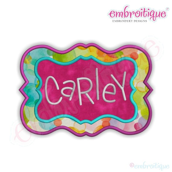 Carley applique font frame instant email delivery download