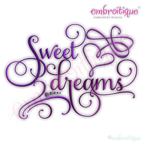 Sweet Dreams Calligraphy With Swirly Heart Accent Instant