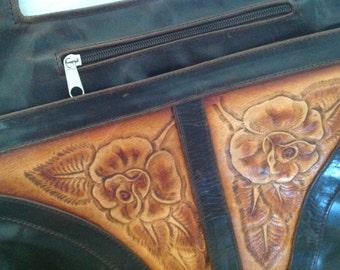 Leather Handbag ~ Vintage Tooled Purse ~ Two Toned Handbag ~ Gift for Mom Sister Aunt ~ Western ~  Dark Brown Light Brown