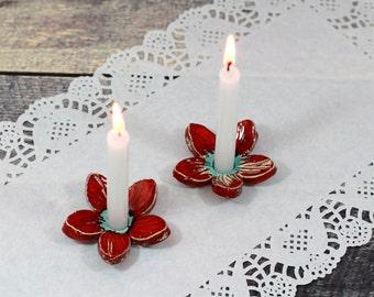 Shabbat candlestick Holiday decor House warming gift Flower candle holder