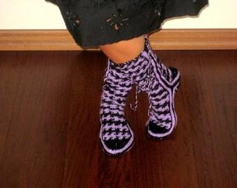 Purple, Black, Wool, Slippers
