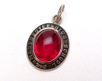 Manchester High School Red Stone Pendant Sterling Silver