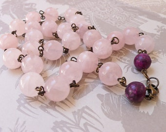 Rose Quartz Beads Hand Wrapped on Brass With Purple Jasper Necklace