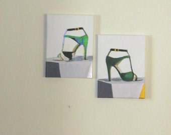 Art&Collectibles, Painting, Acrylic, Stilettos, Before and After The Party, 9x12inches, Wrapped Canvas,Fine Art
