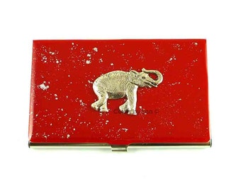 Business Card Case Elephant Inlaid in Hand Painted Enamel Red Opaque with Silver Splash Glossy Finish Custom Colors and Personalized Option