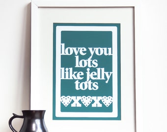Love you lots like jelly tots print - I love you print, love quote print, typographic love print