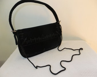 Vintage Evening Bag Black Velvet with Embroidery Beads Valerie Stevens Designer Retro Accessories Purse