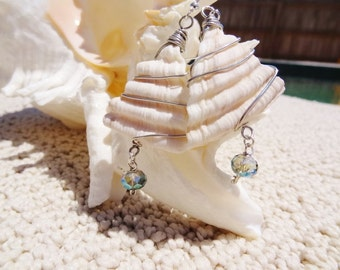 SALE Triangle Seashell Bit Earrings with a dangly Crystal on Sterling #SS3