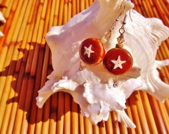 Real Starfish and Stone Earrings on Red with Tan - Beach Candies by jessentials