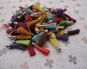 100pcs assorted color Suede Leather Tassels with Silver Color Cap, DIY Cell Phone or Available Earring Pendant Findings