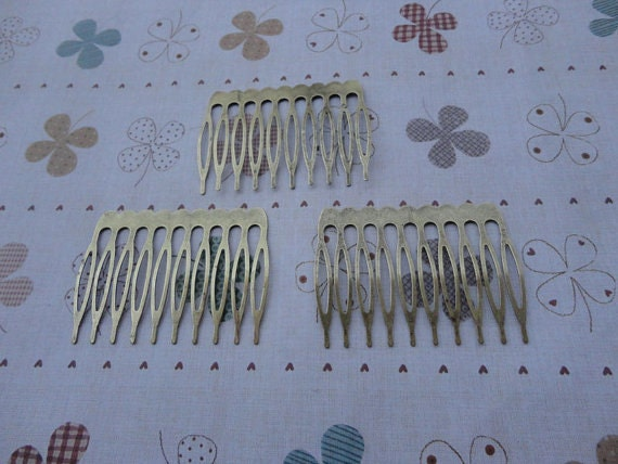 20 pcs Nickel Free  Bronze Plated Hair Comb with 10 Teeth Barrette Pin 53x38mm