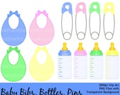 Buy 2 GET 1 FREE - Instant Download - Baby Clip Art Set - Baby Bottle, Baby Bib, Safety Pins - Personal and Commercial Use 91