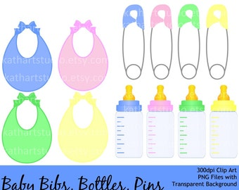Instant Download - Baby Clip Art Set - Baby Bottle, Baby Bib, Safety Pins - Personal and Commercial Use 91