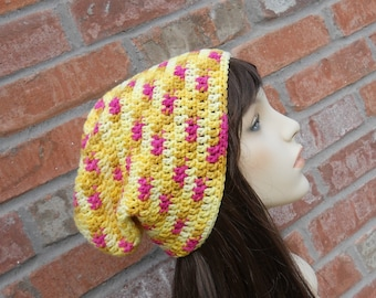 Long Beanie Slouch Hat Yellow and Pink Oversized Beanie Slouchy Beanie Skater Beanie Colorful Beanie Crochet Hat Slouchy Hat