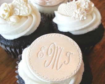 Monogrammed Personalized Cupcake Toppers, Edible Cupcake Decoration, Fondant Cupcake Topper, Unique Wedding Cupcakes, Lux Wedding Cupcake