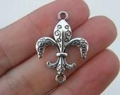 8 Fleur de lis connector charms antique silver tone WT5
