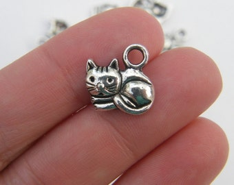 10 Cat charms antique silver tone CT15