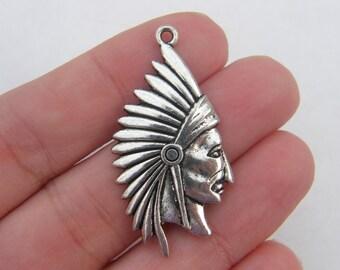 4 Native American pendants antique silver tone P110