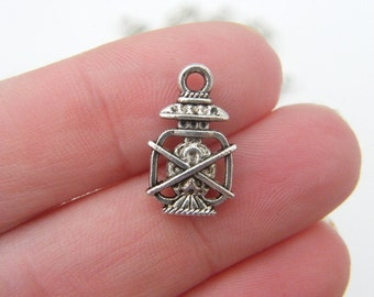 10 Lamp charms antique silver tone P138