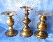 Vintage Brass Candle Holders/ Set of Three/ Home Decor/ Office/ Bedroom