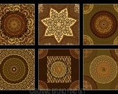 6pc Moroccan Tile Art Prints - brown chestnut gold wall decor for home or office, wall grouping
