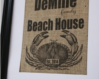 Free US Shipping...Personalized Beach House with Crab Burlap Print...great coastal decor, beach wedding, housewarming gift!