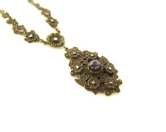 SALE: Deco Marcasite Necklace - Vintage
