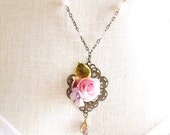 Pink ribbon rose necklace Victorian pendant