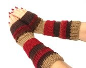 Hand Knt Gloves Fingerless Gloves Hand Warmers Christmas In July Red Brown Tan - ArlenesBoutique