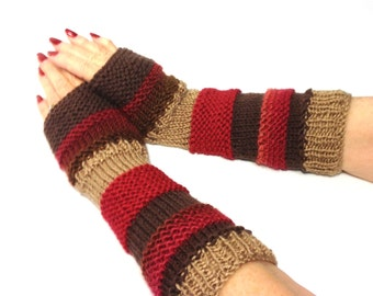 Knit Fingerless Gloves,Fingerless Gloves Hand Knit Gloves, Hand Warmers, Texting Gloves, Fingerless Mittens, Arrm Warmers,  Red Brown Tan