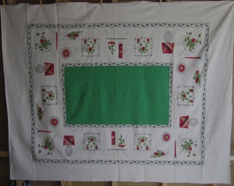 2 Tablecloths same MID CENTURY design in Rect & Sq Red Green