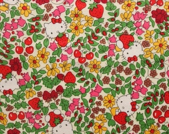 Liberty tana lawn - Strawberry fields - Hello Kitty printed in Japan  - Ivory mix