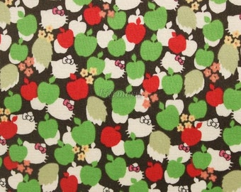 SALE - Liberty tana lawn - Apple tree - Hello Kitty printed in Japan - Green mix