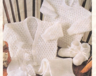 BABY KNITTING PATTERN - Baby 3ply Cardigan Sweater Trousers/Leggings Mitts and Bootees 16 - 22 inch