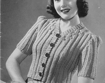 Download PDF - Knitting PATTERN - Vintage Ladies Afternoon Jacket - To fit 34 inch Bust