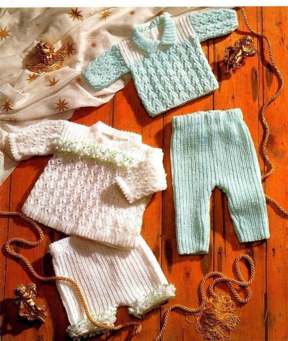 Knitting Pattern Angel Top : Baby KNITTING PATTERN Sweater Angel Top Trousers and