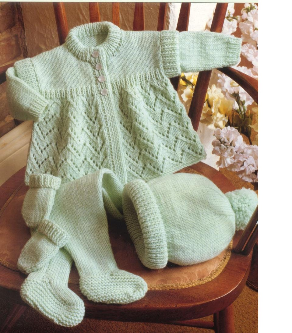 Knitting Pattern For Baby Hat And Mittens : BABY KNITTING PATTERN Baby Coat/Sweater Leggings Hat and