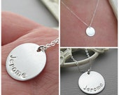 Hand Stamped Necklace, Mommy Jewelry, Sterling Silver, Personalized, Engraved Name Plate, Perfect New Mom Gift, Stamped Name Necklace