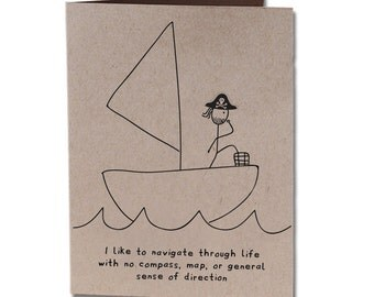 Thank You Humor Greeting Card Navigate Seas