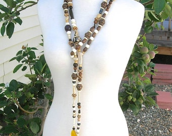 VERY LONG African Rope/Lariat Necklace, Helping Hands, Organic Mix - Bone, Wood, Coconut, Horn, Seed, Nuts, Necklace by SandraDesigns