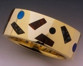 One of a kind man's inlaid Dino bone ring