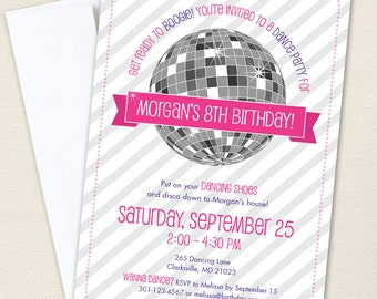 Disco Dance Party Invitations - Professionally printed *or* DIY printable