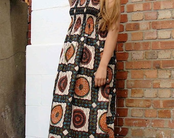 D&D Maxi African Print Dress  LARGE
