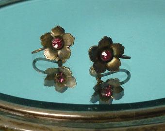 25% OFF SALE Vintage Gold Fill Flower Earrings Pink Sparkle