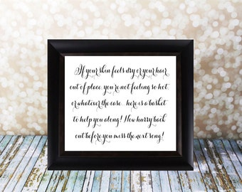 Bathroom Basket Sign, Wedding Sign, Toiletries, 4 X 6, 5 X 7 & 8 X 10 in.  Instant Download.  Guest Freshen Up  DIY Printable File.