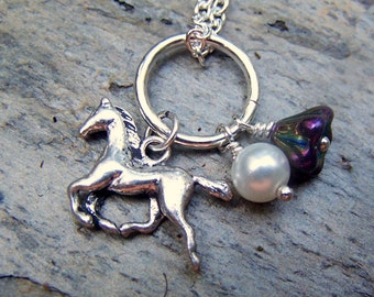 Horse Necklace Purple Flower Girls Necklace Equestrian Jewelry Horse Jewelry Silver Horse Charm Gift for Her