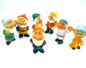 Walt Disney Productions Vintage Seven Dwarfs Squeaky Bath Toy Set Disney Collectable Set