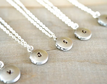 Bridesmaid Gift - 5 Tiny Personalized Locket Necklaces in Silver - Personalized Hand Stamped Initial - Bride, Bridal, Wedding - 10% OFF