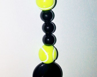 Tennis Ball Grateful Prayer Bead Backpack Charm Bead For Her For Teens For Him Dad Boy Men Sports Balls Black
