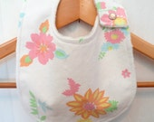 Baby Bib - Pink Flower Print - Made from Vintage Sheets